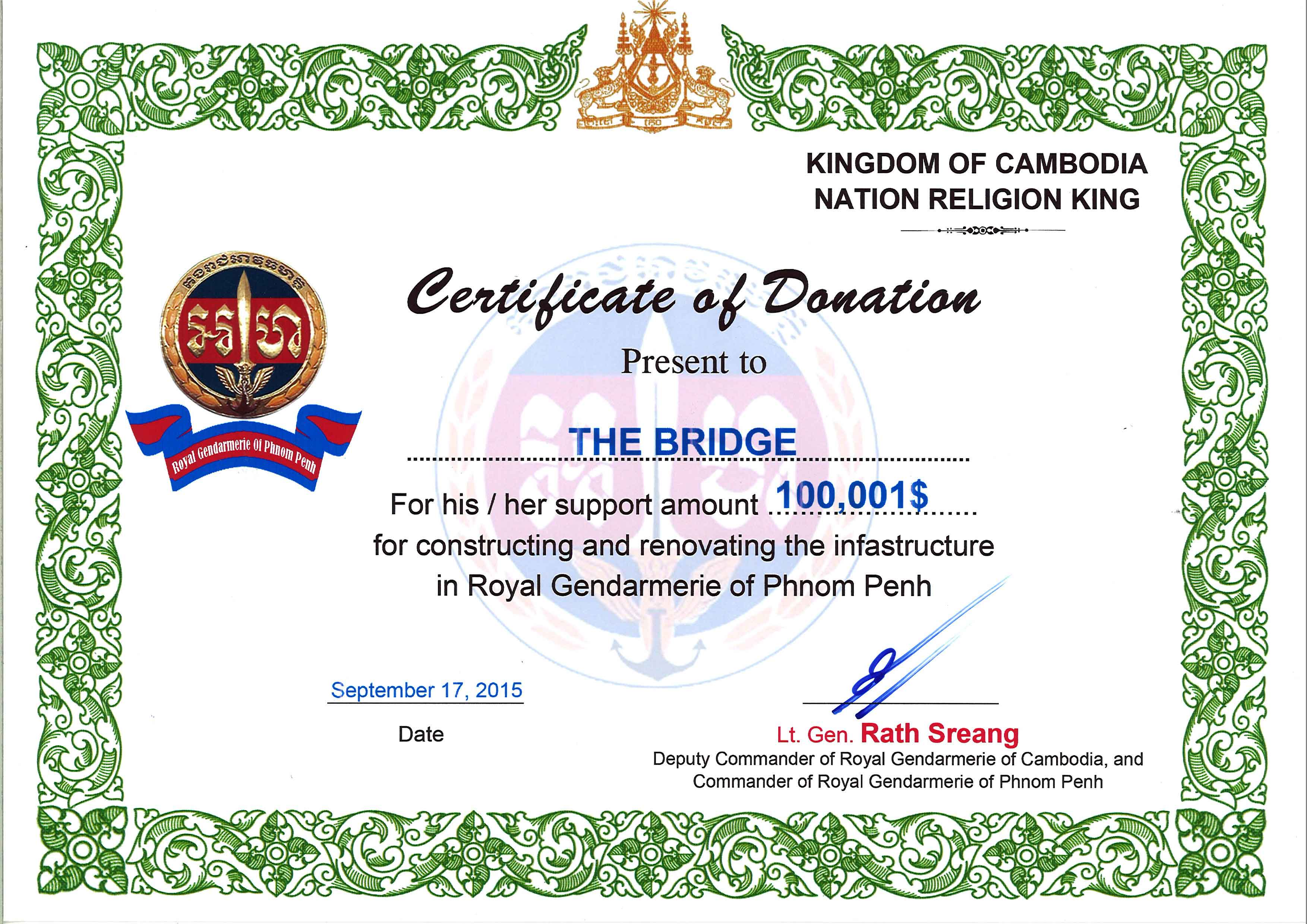 Donation to the renovation & Construction of Gendarmerie of Phnom Penh